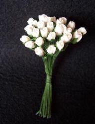 25 Mini Mulberry Paper Rose Buds White